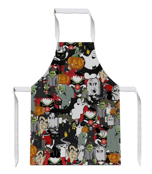 Halloween All Over APRON Ghost Party Pumpkin Novelty Gift Present Gothic Funny