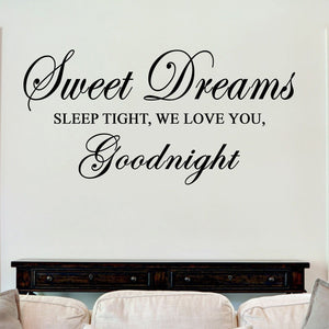 Sweet Dreams Sleep Tight Goodnight Sticker Vinyl Decal Decors Wall Quotes Lounge