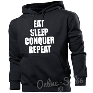 Eat Sleep Conquer Repeat Mens Hoodie Gym Muscle Train Top Hoody Bodybuilder, Main Colour Black