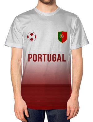 Portugal Home Football Nation Fade Tshirt Mens Shirt Jersey World Euros Ronaldo