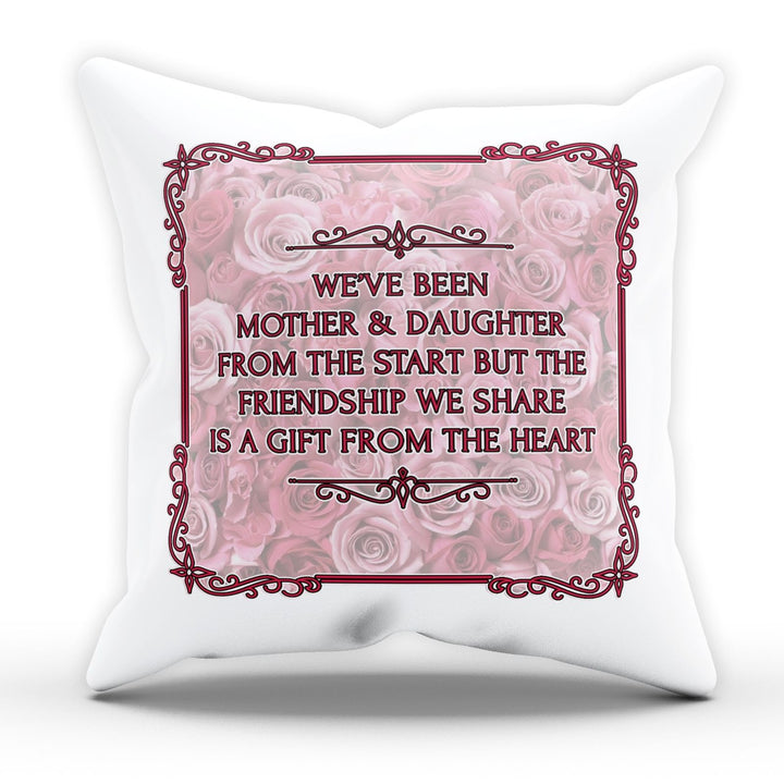 Mother And Daughter Gift From Heart Cushion Quote Happy Day Gift Pillow EM220
