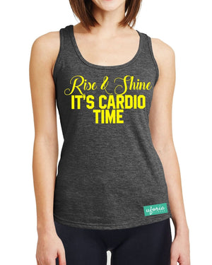 Rise and Shine It's Cardio Time DARK GREY Womens Gym Vest Racer Back Tank U23