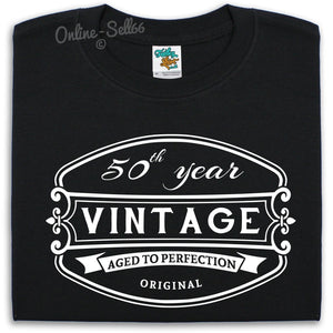 50 th Vintage Birthday Mens T Shirt 51 52 53 54 Bday Grandad Present Gift Fun, Main Colour Black