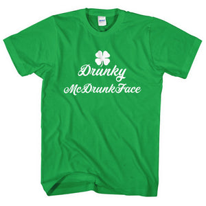 Drunky McDrunkface T-Shirt Funny St Patricks Day Clothing Drunk Boaty Men  L243