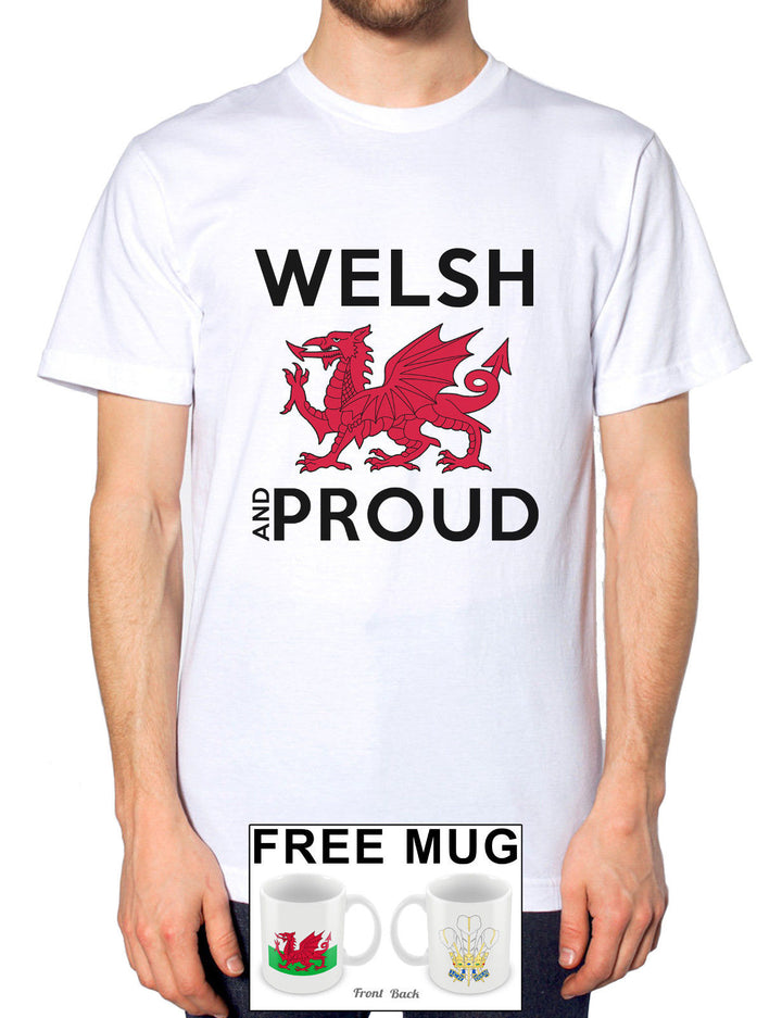 Welsh and Proud Wales Cymru T Shirt Mens Womens Dragon Rugby Tshirt *FREE MUG* 3