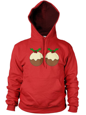 CHRISTMAS PUDDING HOODIE BOOBS BREAST FUNNY JUMPER XMAS JOKE MEN WOMEN