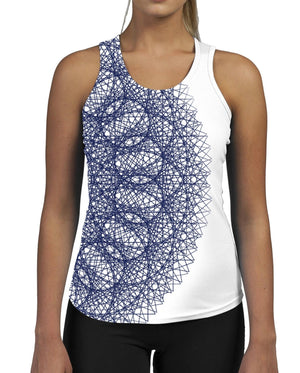 Half Circle WOMENS GYM TANK Top Vest Ladies Fitness Muscles Workout Geometric