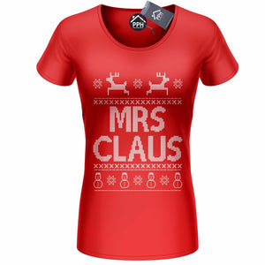MRS CLAUS Christmas T Shirt Funny Ladies Top Gift Novelty Geek Shop Tee CH10