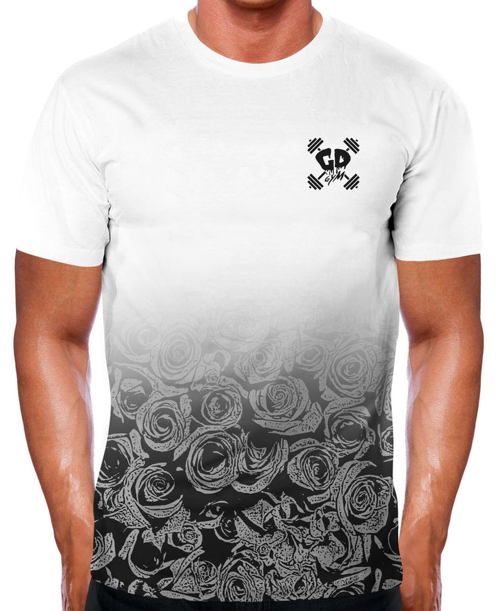 GREY ROSE FADE GYM T SHIRT TRAINING TOP RUNNING MMA MEN CLOTHING BODYBUILDING