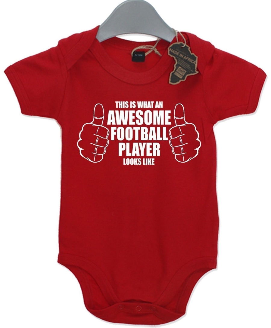 Awesome Football Player Gift Baby Grow Sport  Boy Girl Unisex Present Play Suit