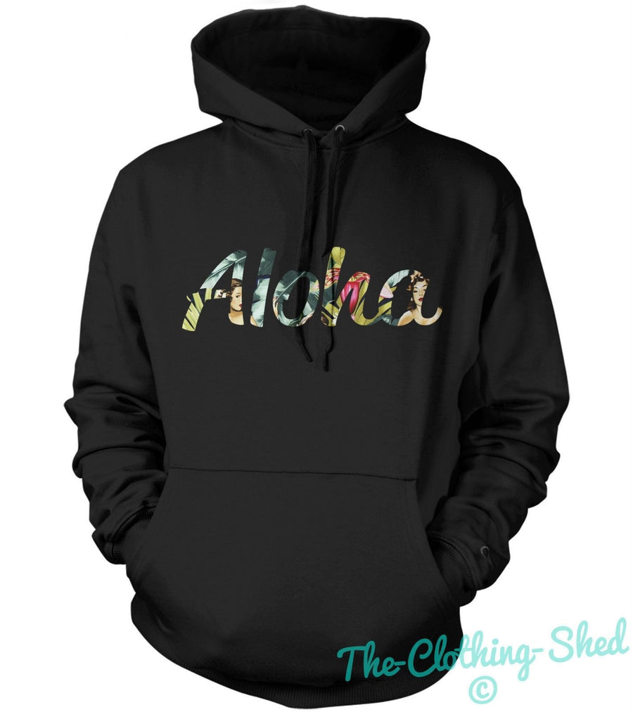 ALOHA PIN UPS PRINT HOODIE HOODY MEN WOMEN KID HIPSTER HAWAII COOL STREETWEAR