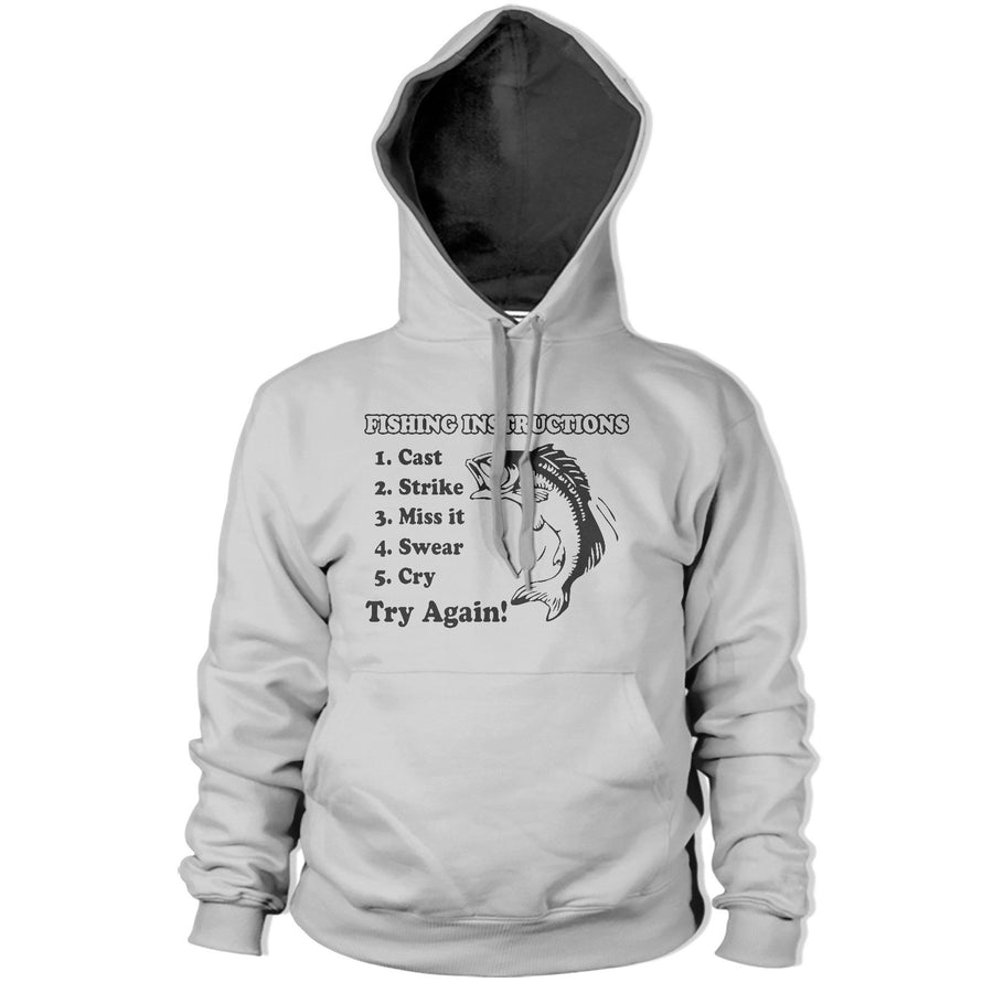 Fishing Instructions Hoodie Funny HOODY Stag Fish Carp Angling Fathers Day PT4