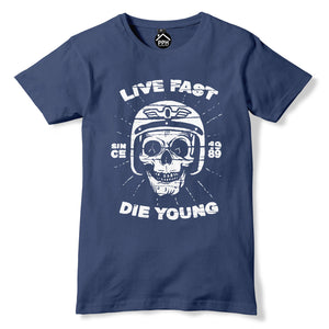 Live Fast Die Young Tshirt Motorcycle Music Motorbike Club T Shirt Top Goth 362