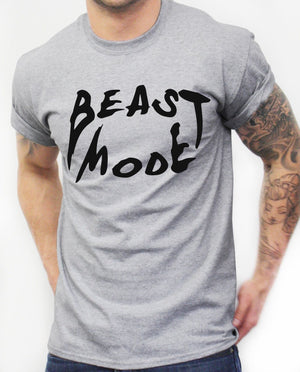 Beast Mode T Shirt Teeth Gym Mens Training Workout Clothing Fit MMA Best Muscle