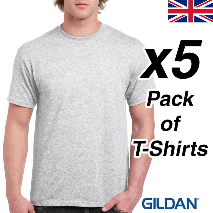 Ash Grey Mens T Shirt 5 Pack Gildan Heavy Cotton Tee Top Plain Cheap Work Bundle