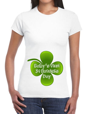 Babys First St Patricks Day T Shirt Top Womens Pregnant Maternity Irish  EP5