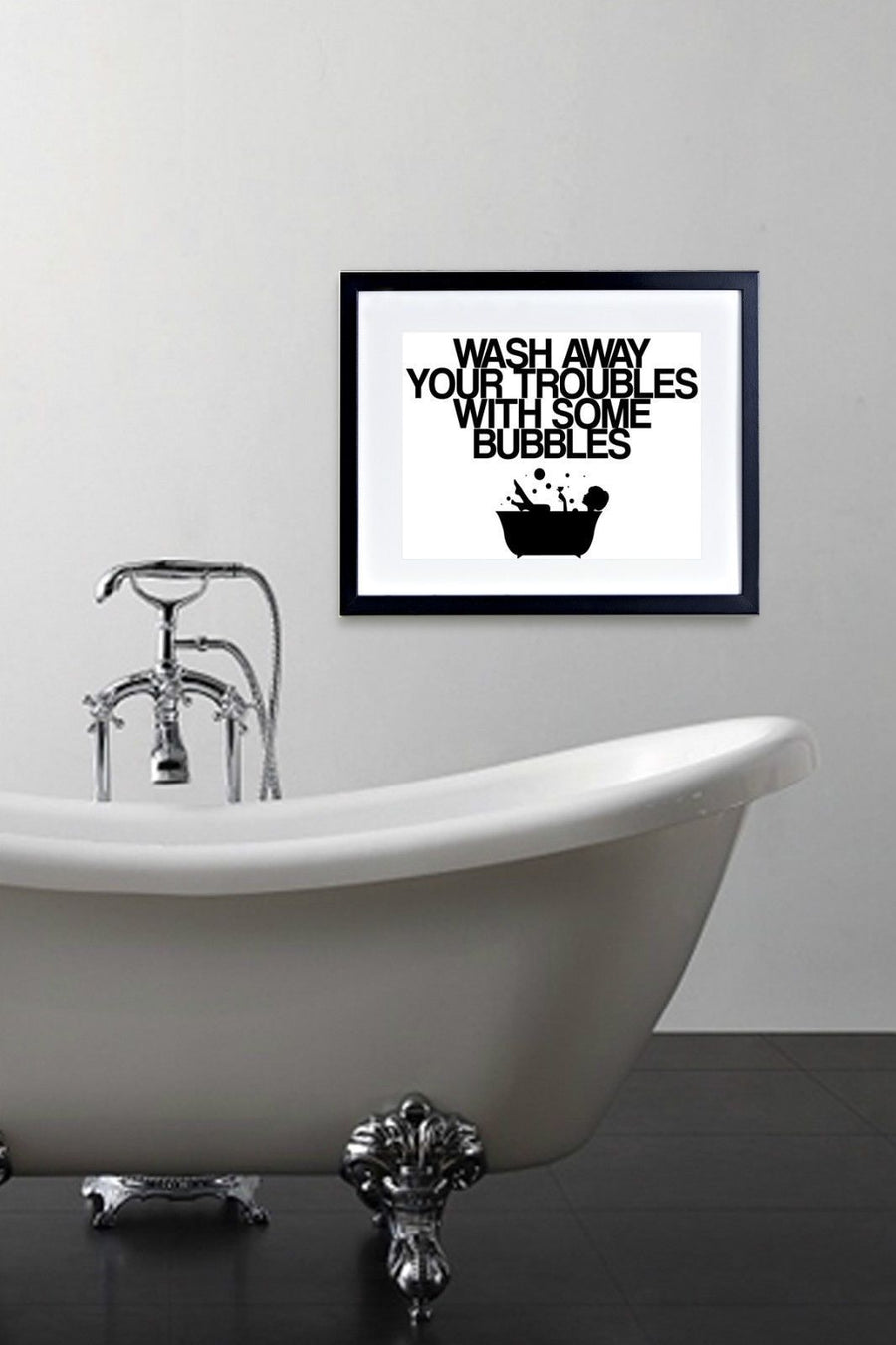 Wash Away Picture Shower Poster Print Framed Mounted Bathroom Bath Relax 233
