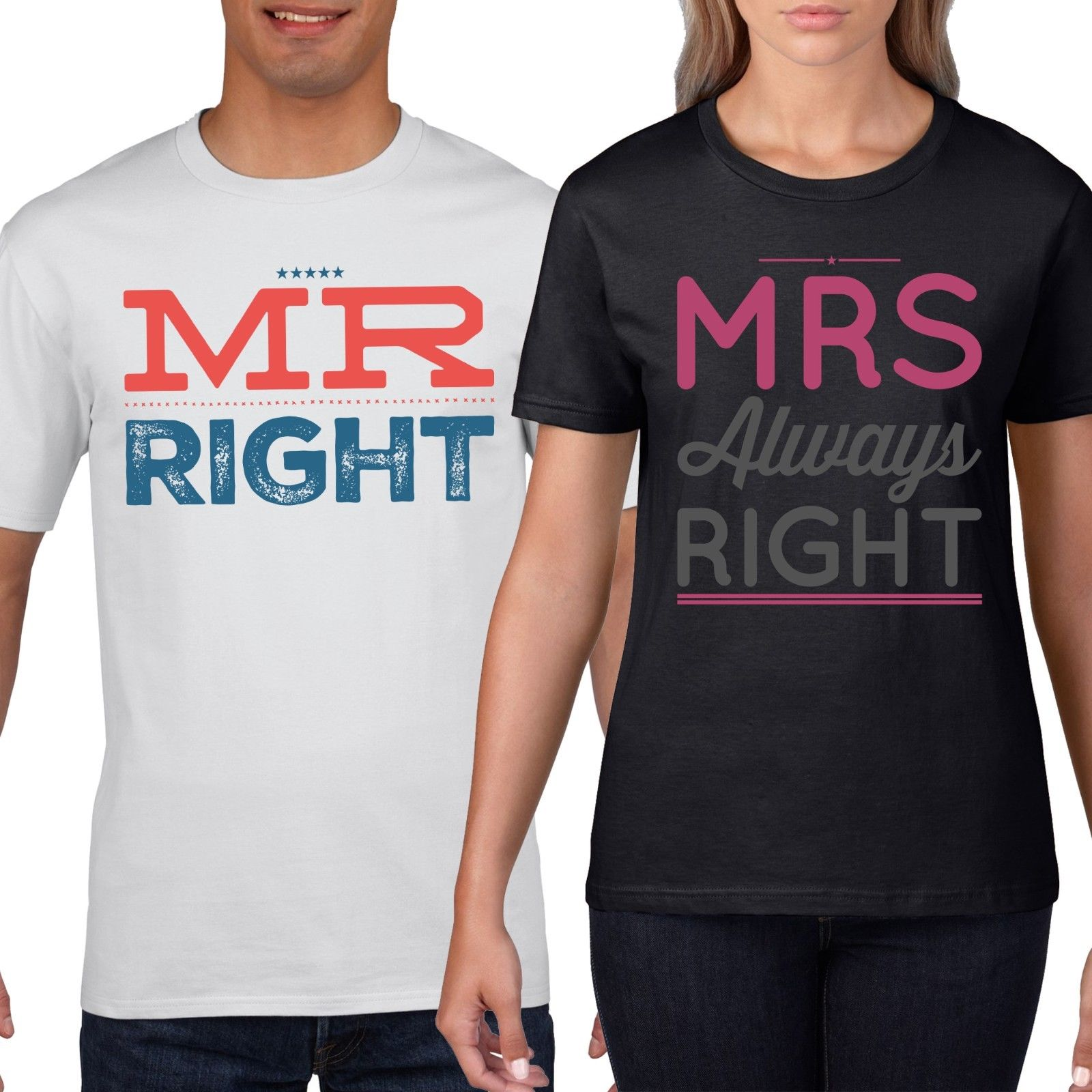 82c29922 Product image 1 Mr Right Mrs Always Couples T-Shirt Funny T Shirt Wedding  Honeymoon Shirts 849