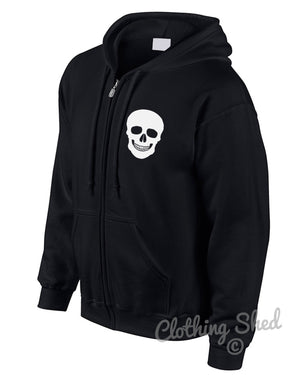 Skull Zipped Hoody Rock n Roll Hoodie Hipster Mens Street Heavy Metal Womens