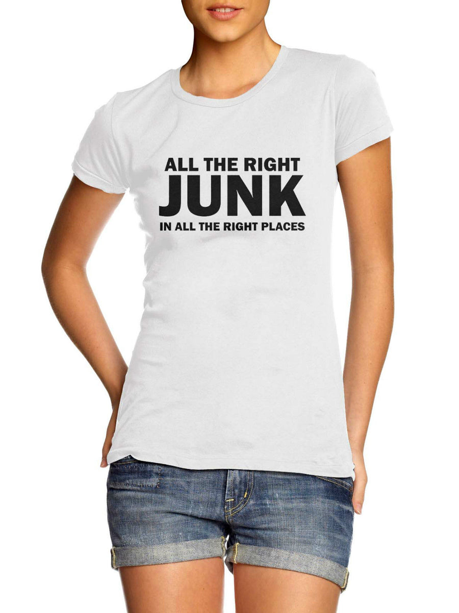 All The Right Junk In All The Right Places T Shirt Plus Size Blogger Big Bass, Main Colour White