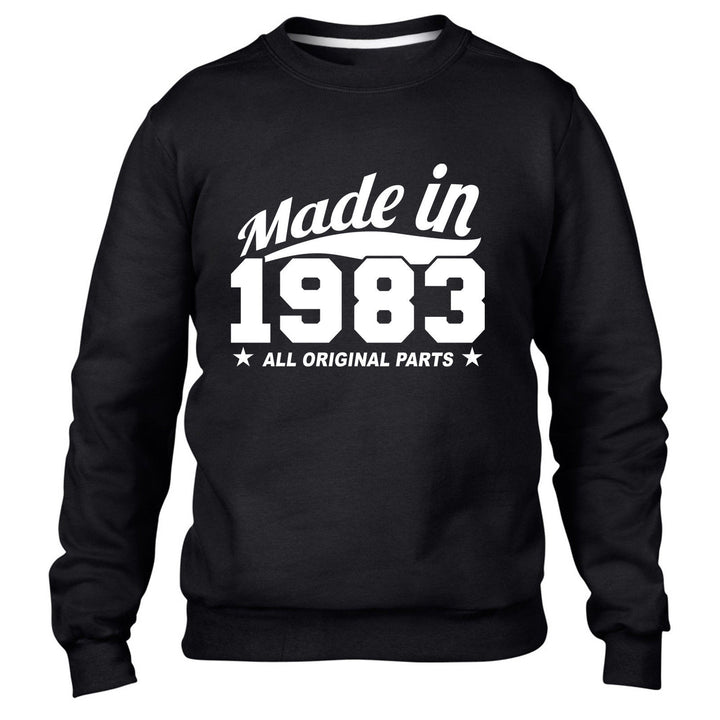 MADE IN 1983 ALL ORIGINAL PARTS SWEATER MENS WOMENS GIFT BIRTHDAY FUN PRESENT