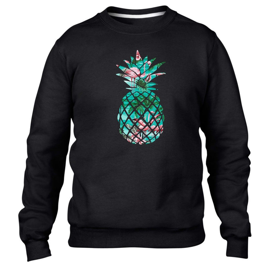 Flamingo Pineapple Black Sweater Jumper Winter Hipster Tumblr Style  Fashion