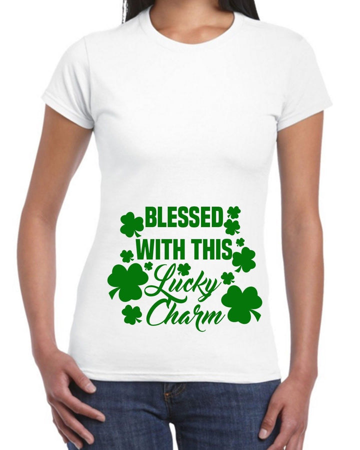 Blessed With This Lucky Charm T Shirt Baby St Patricks Day Precnancy Womens EP6
