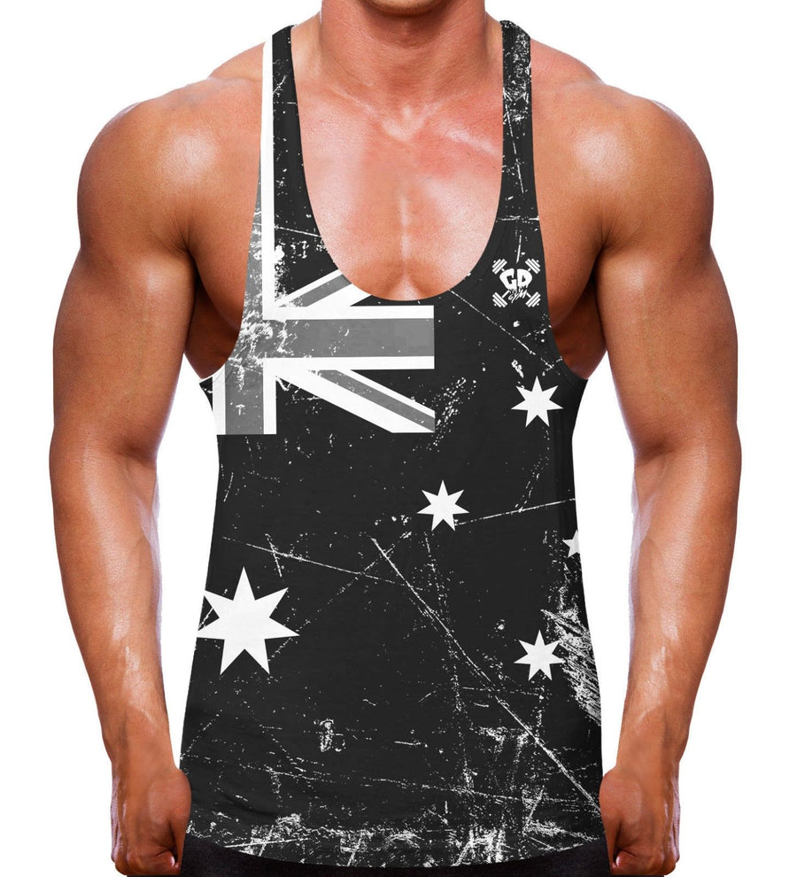 Australian Flag Stringer Vest Australia Bodybuilding Top Clothes Training Men