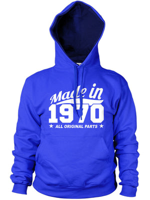 MADE IN 1970 ALL ORIGINAL PARTS HOODIE MENS WOMENS COOL BIRTHDAY PRESENT FUNNY