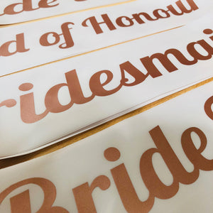 ROSE GOLD Bride Tribe Hen Party T Shirts Sash Bachelorette Wedding Bridesmaid