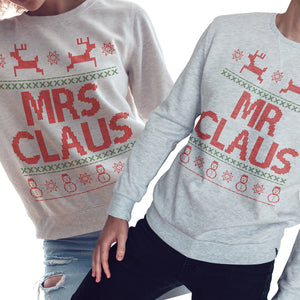 Mr & Mrs Claus Sweatshirt Couples Wedding Christmas Jumper Wifey Hubby CH52