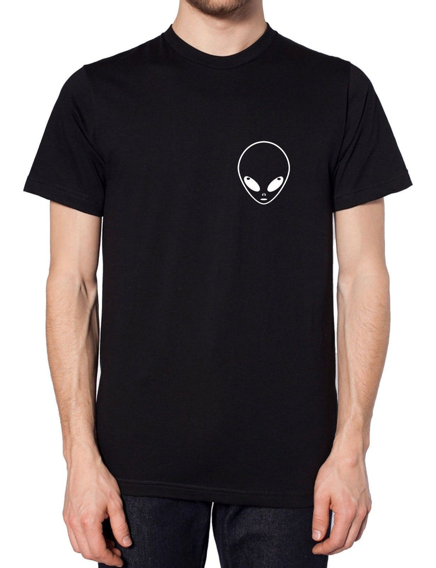 Alien Pocket Logo T Shirt Geek Space Galaxy Moon SMALL BLACK MUST GO SALE S1