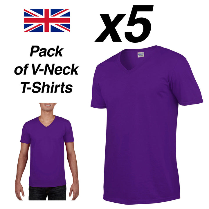 Mens PURPLE V-NECK T SHIRT 5 Pack Gildan Cotton Man Top New Plain Cheap Fitted