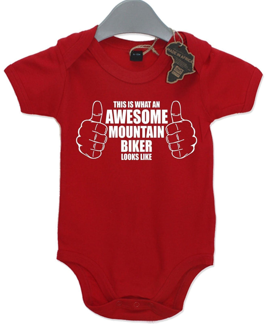 Awesome Mountian Bike Rider Gift Baby Grow Boy Girls Present Play Suit Cute