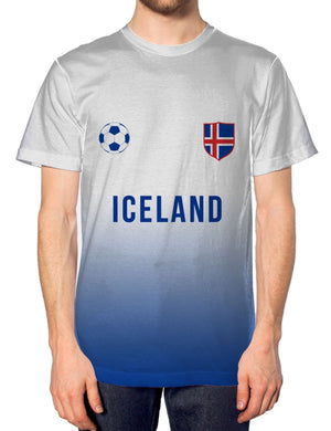 Iceland Football Nation Fade Tshirt Mens Shirt Jersey World Cup Home Euros Top
