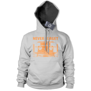 Never Forget Cassette Tape Hoodie Old School 80s 90s Music Hoody Disco Dance 357