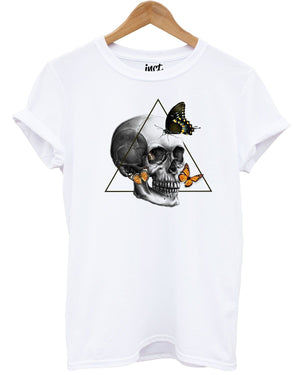 Butterfly Skull White T Shirt Hipster Indie Grunge UK Fashion Graphic Emo