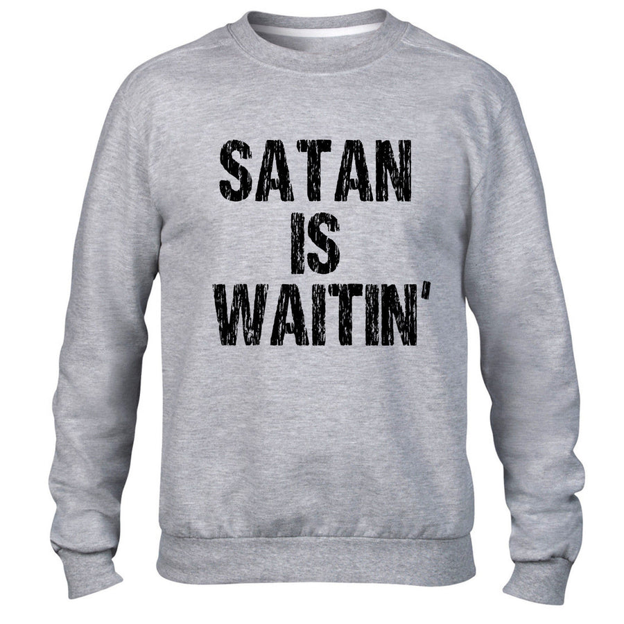 Satan is Waiting Funny Mens Sweatshirt Crucifix Religeon Sweater Jumper