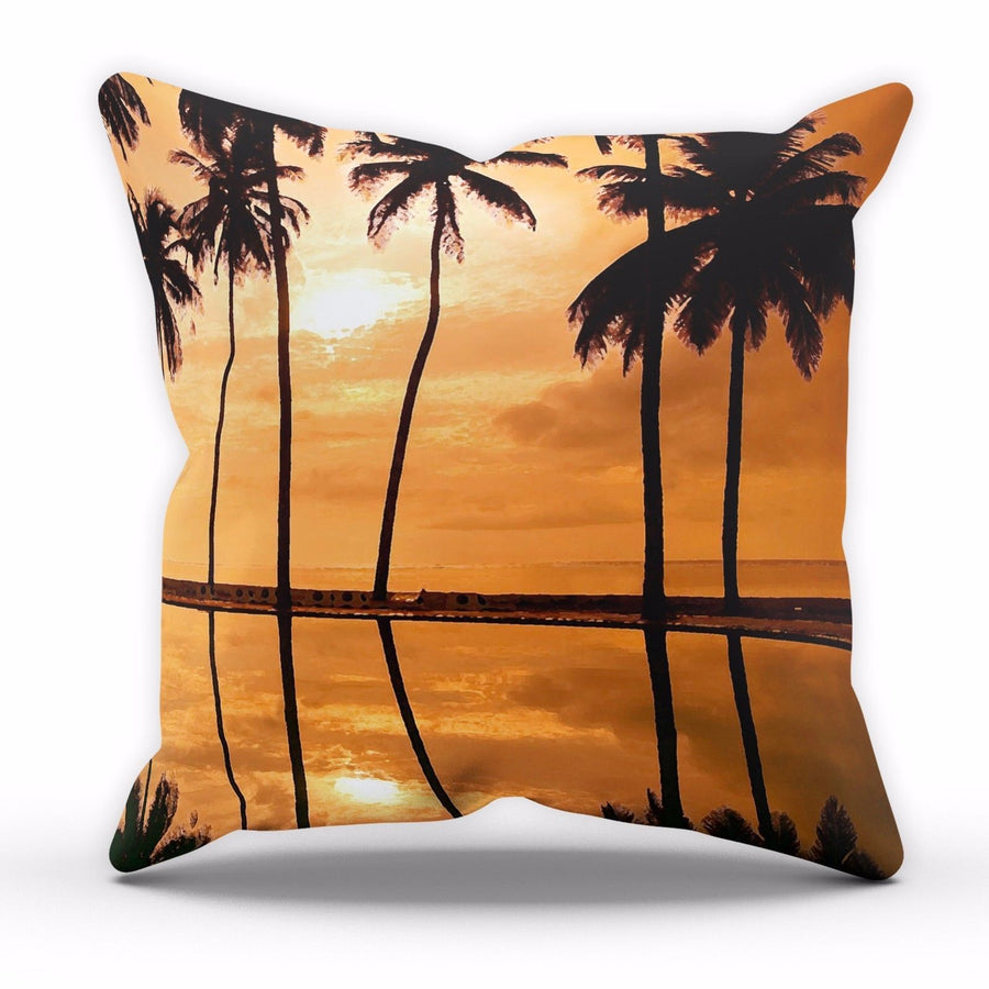 Orange Palm Tree Sunset Cushion Leaves Gift Home Decor Cover Pillow Bed Linen C3