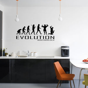Evolution Of Bodybuilder Wall Sticker Vinyl Decal Decors Art Bodybuild Gym Lift