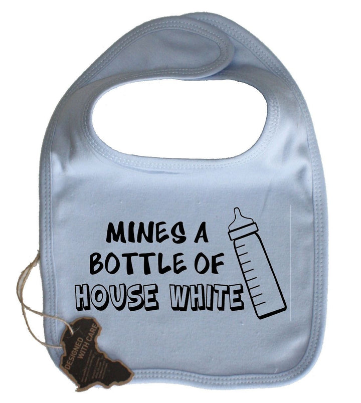 Mines A Bottle Of House White Cute Baby Dribble Bib Velcro Adorable Present Kid