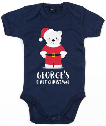 Personalised First Christmas BabyGrow Cute 1st Xmas Polar bear Santa Outfit L137