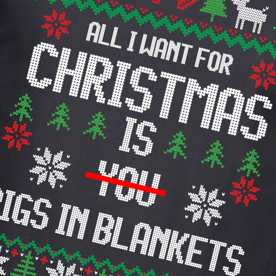 Funny All i want for Christmas is PIGS IN BLANKET T Shirt Mens Gift Bacon C50