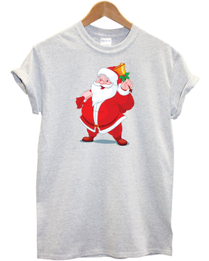 Santa T Shirt Father Christmas Claus Presents Gift Festive Top Here Comes Snow , Main Colour Grey