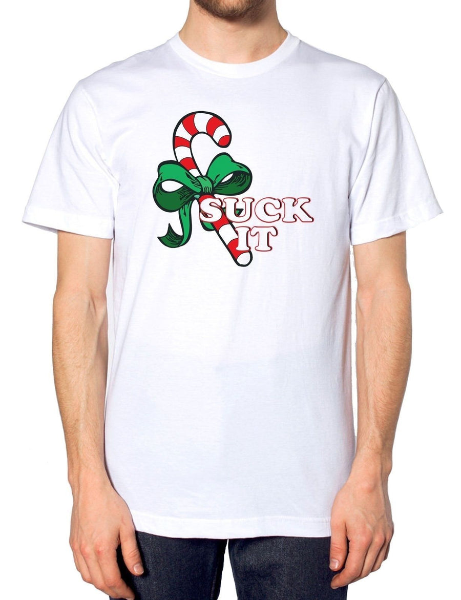 Suck It White T Shirt Candy Cane Rude Mens Joke Funny Novelty Gift Christmas