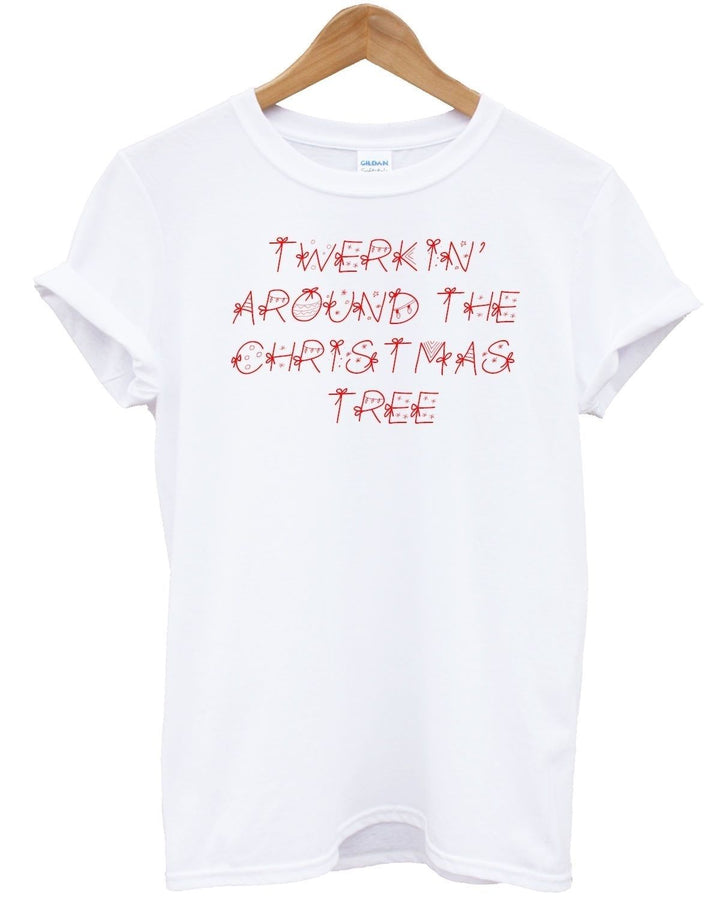 Twerkin Around The Christmas Tree T Shirt Funny Novelty Noel Present Stocking, Main Colour White