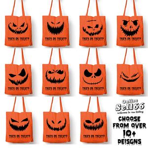 Trick or Treat Bag Shopper Boy Girl Pumpkin Face Scary Kids Glow Children Tote