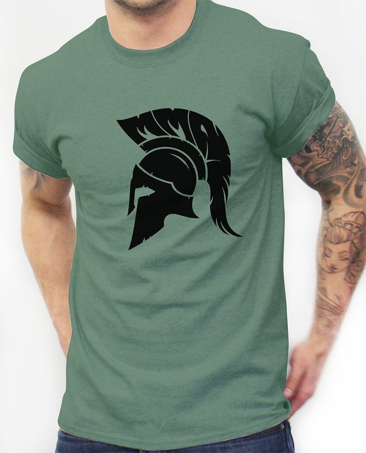 MENS MMA TRAINING T SHIRT SPARTAN HELMET TROJAN WARRIOR GYM WORKOUT TOP CLOTHING
