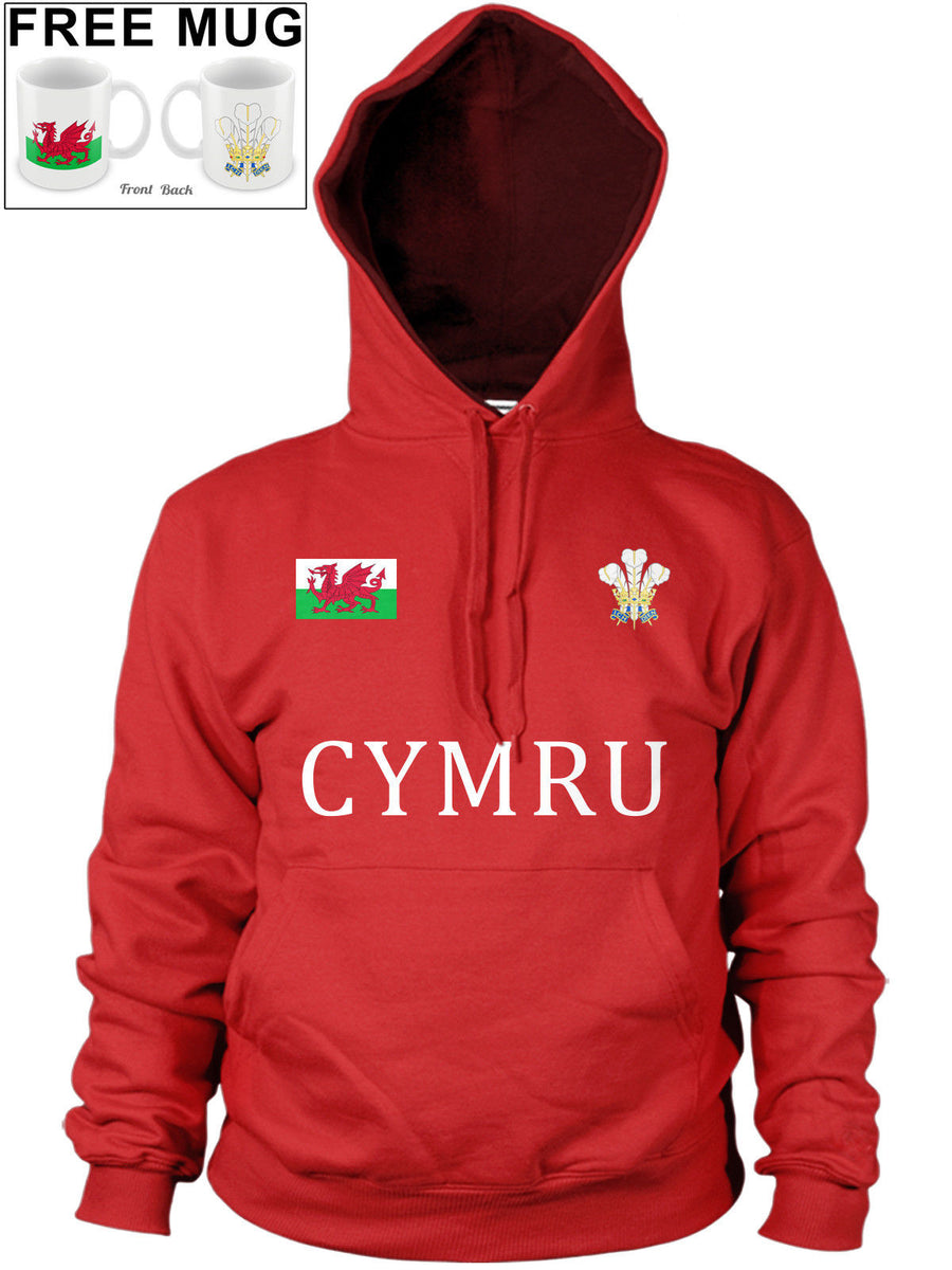 Wales Cymru Welsh Feathers Badge Hoody Dragon Rugby Hoodie Football *FREE MUG* 1