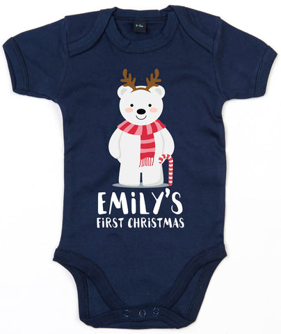 Personalised First Christmas Baby Grow Cute 1st Girls Babygrow Polar bear L138